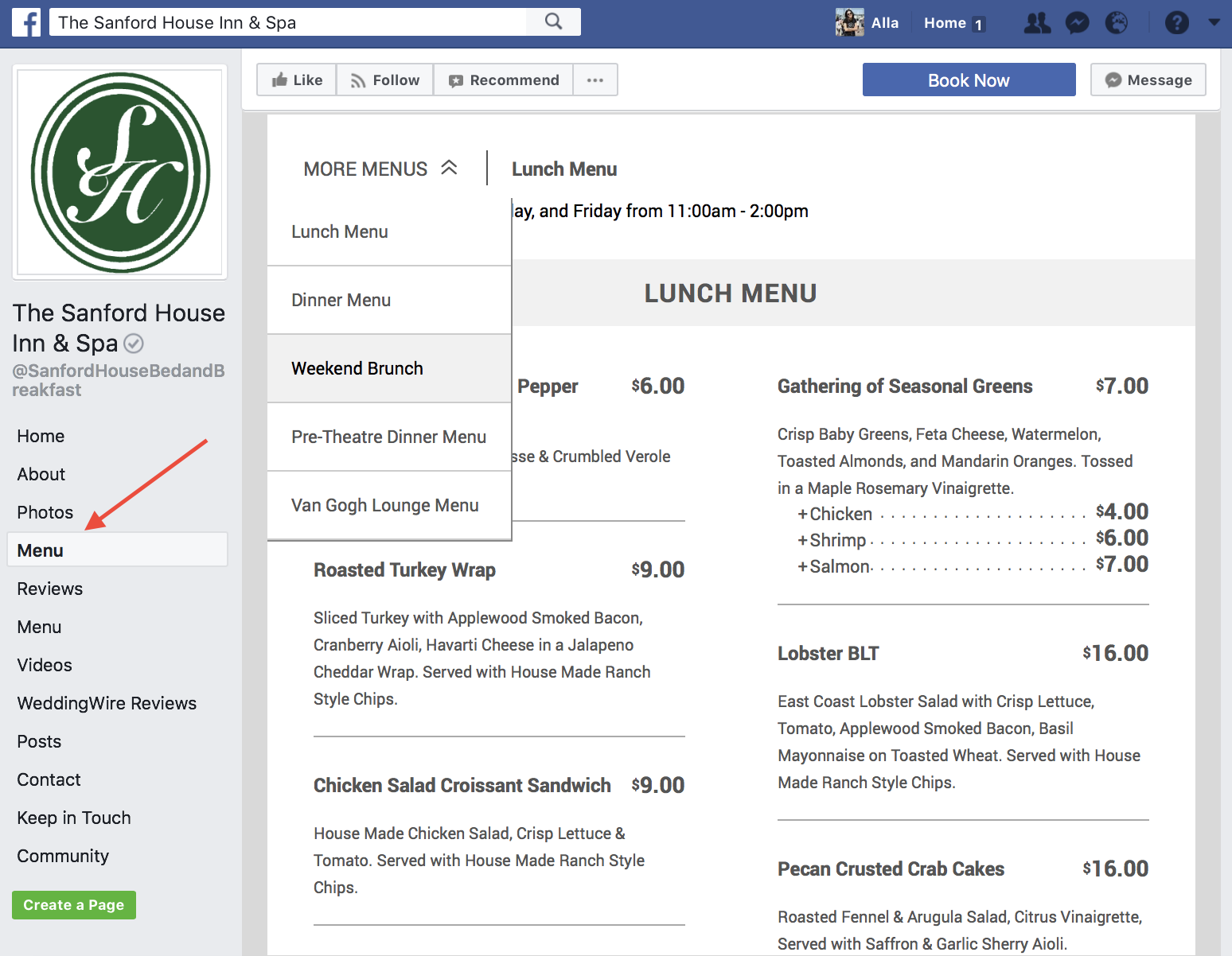 how to add menu to facebook page