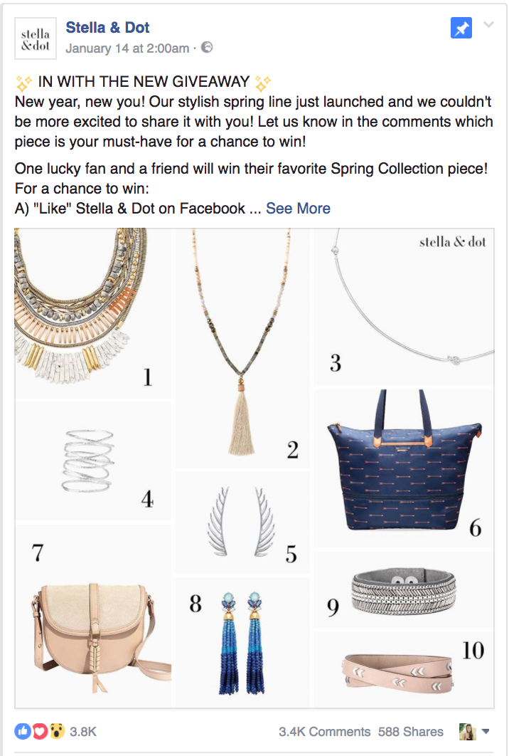Stella & Dot, facebook post example