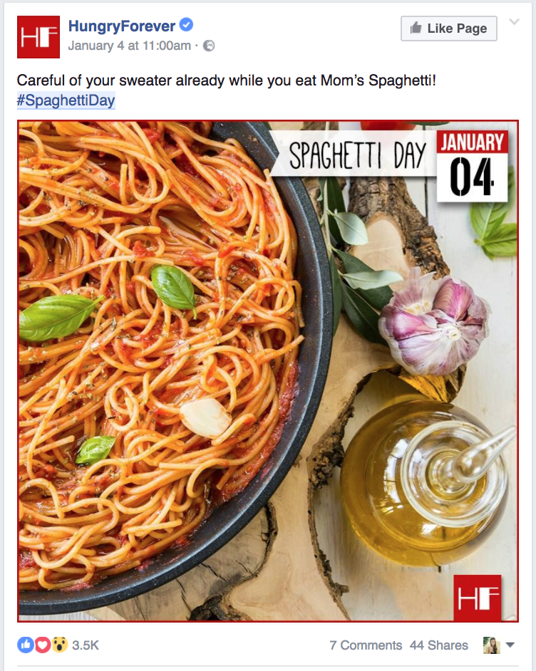 Hungry Forever facebook post, Spaghetti Day