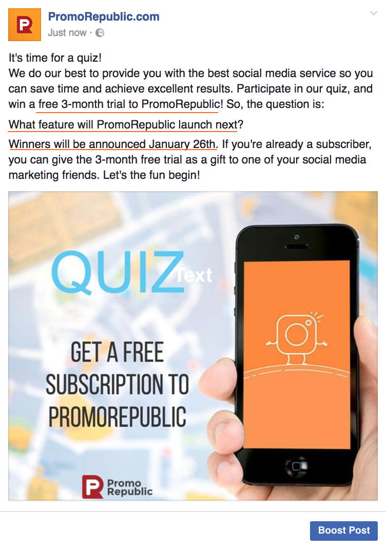 facebook quiz example