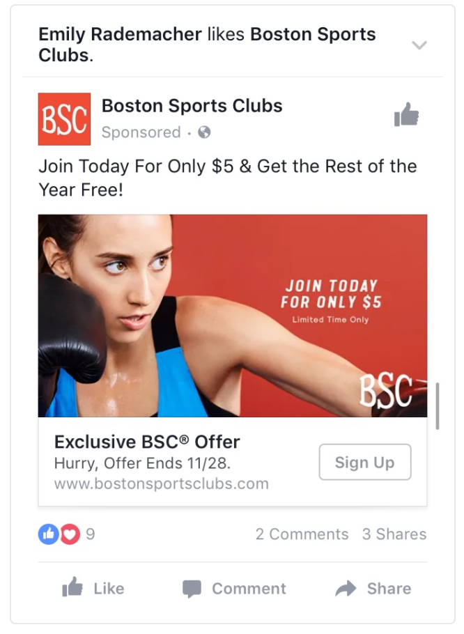 Boston Sports Clubs facebook post example