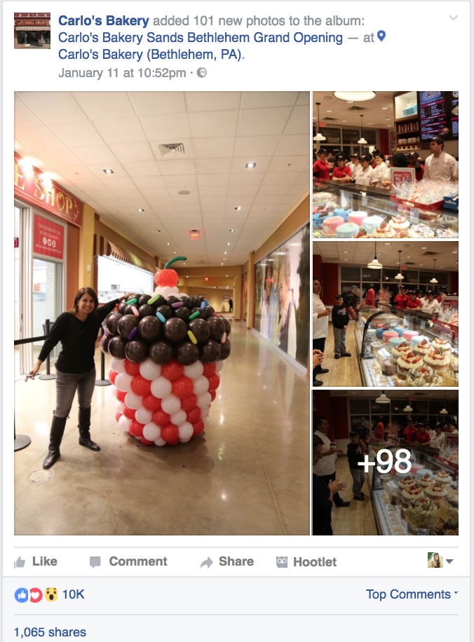 Carlo's Bakery facebook post example 2