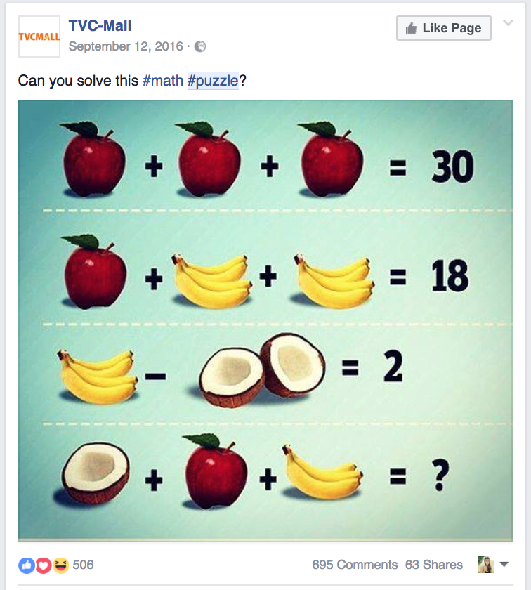 Math Puzzle facebook post