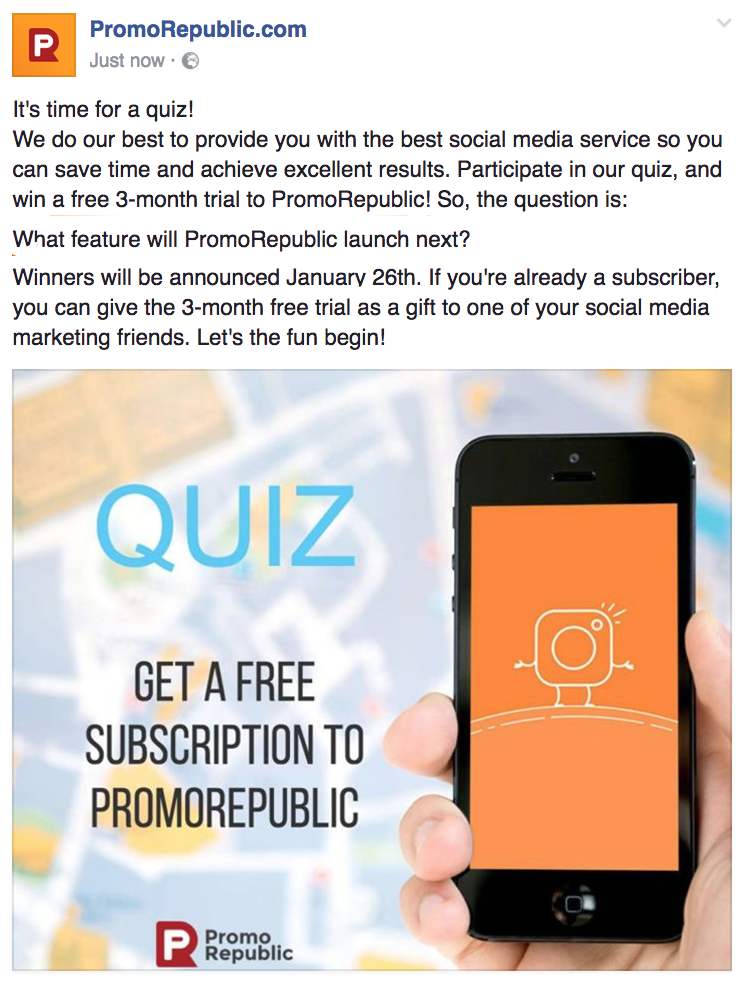 facebook quiz post