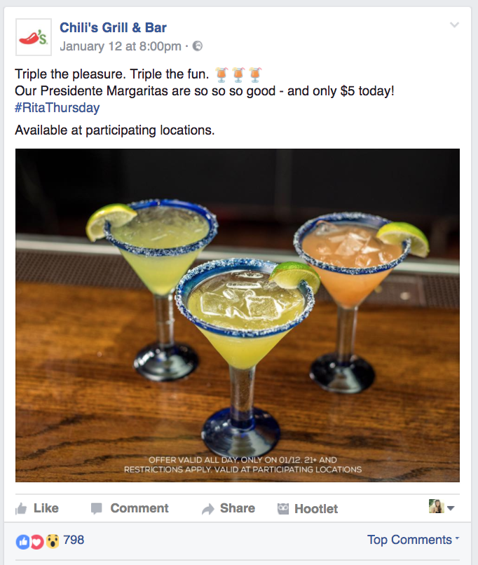 Chili's Grill & Bar, Facebook post example