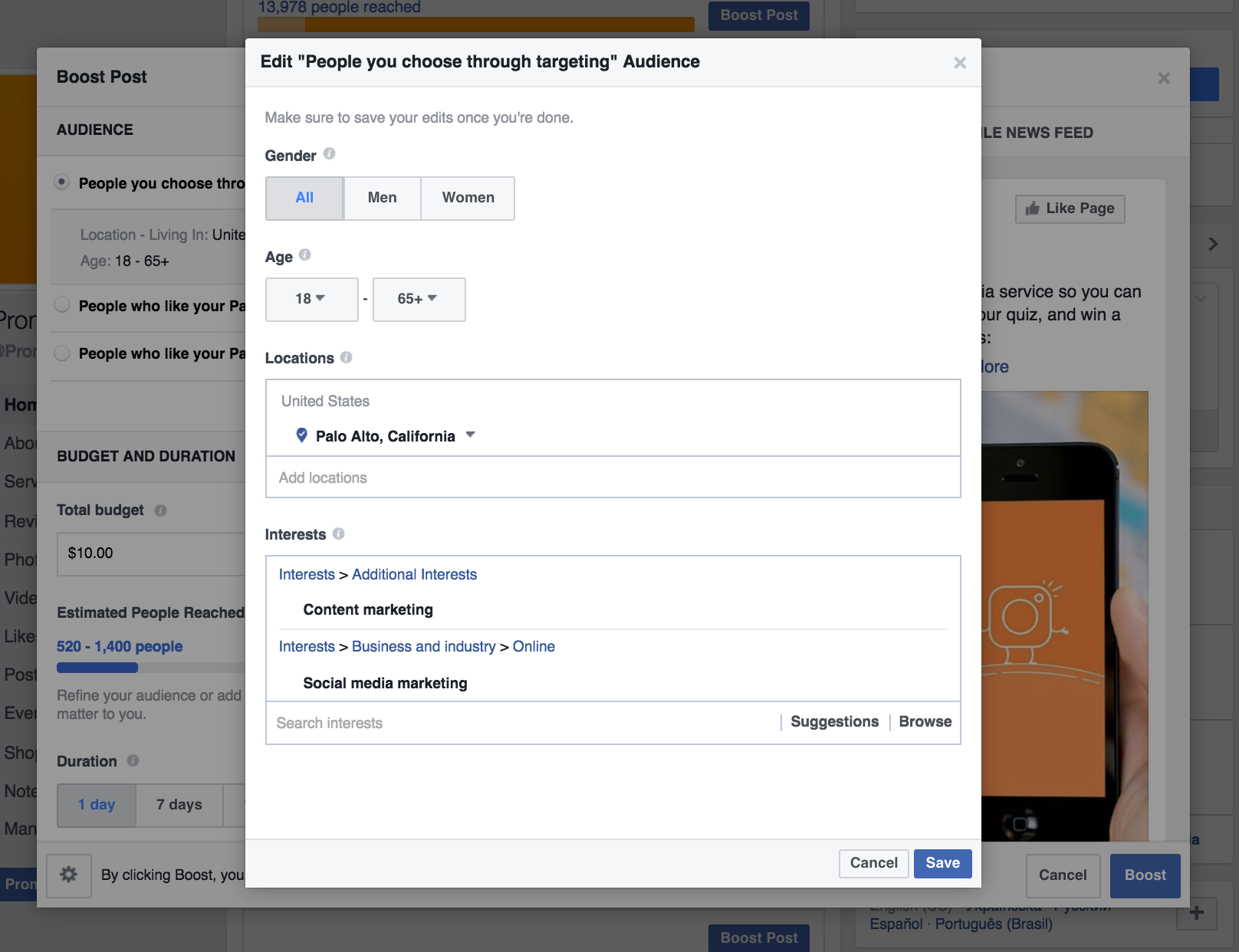 location, gender and age targeting on Facebook