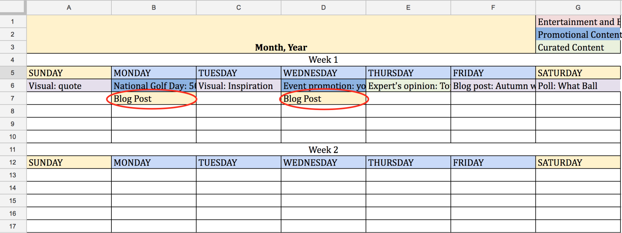 Content plan, 1 week