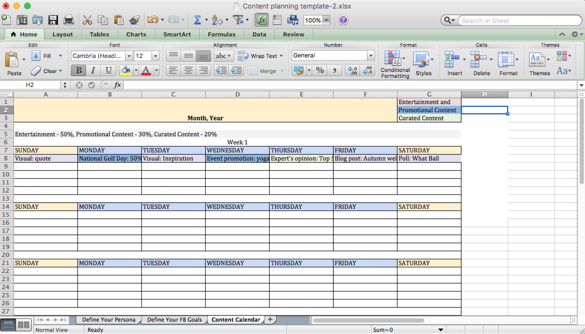 social media posting schedule example