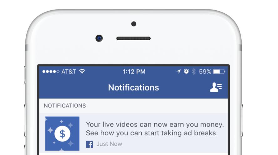 Ad Breaks notification example