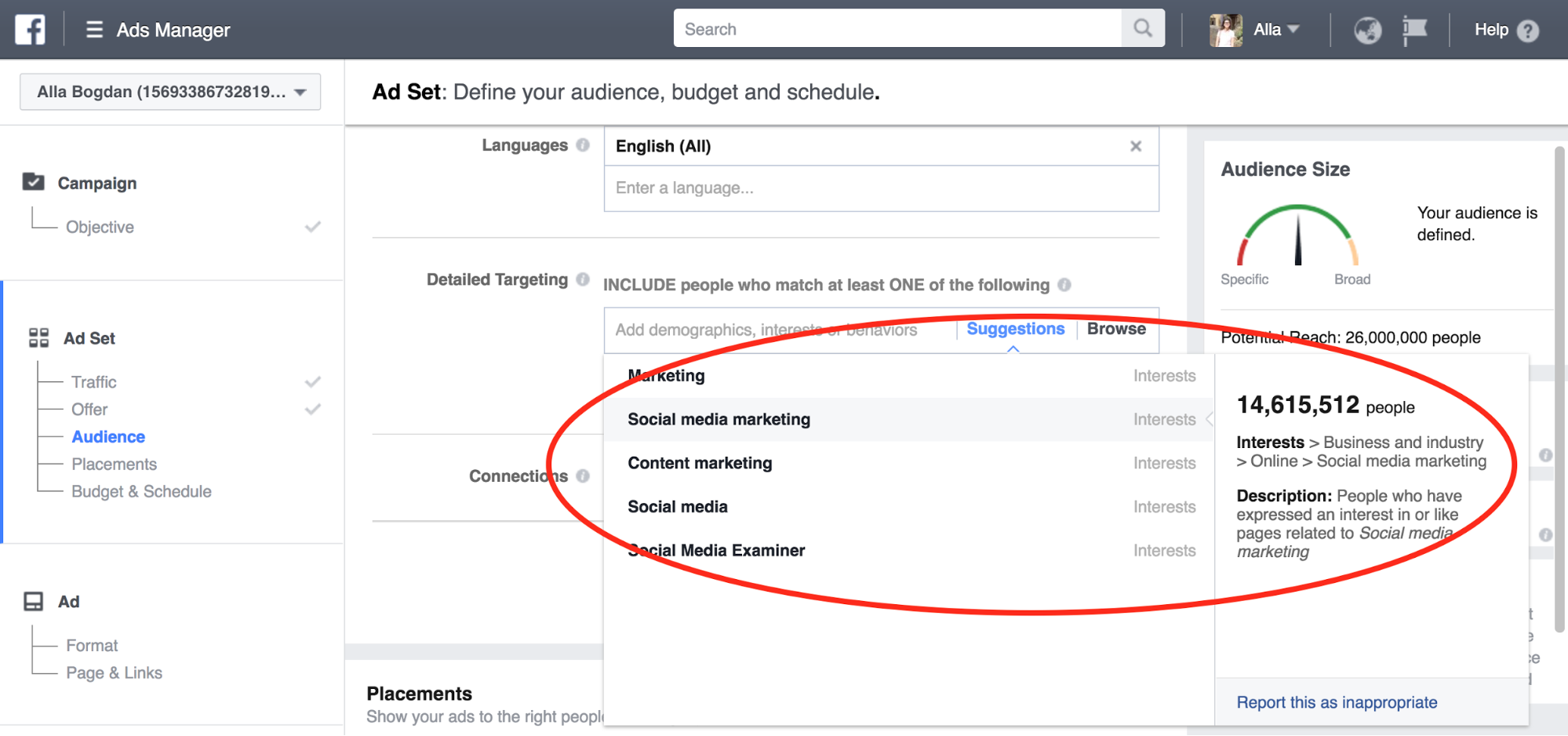 Facebook ads detailed targeting example