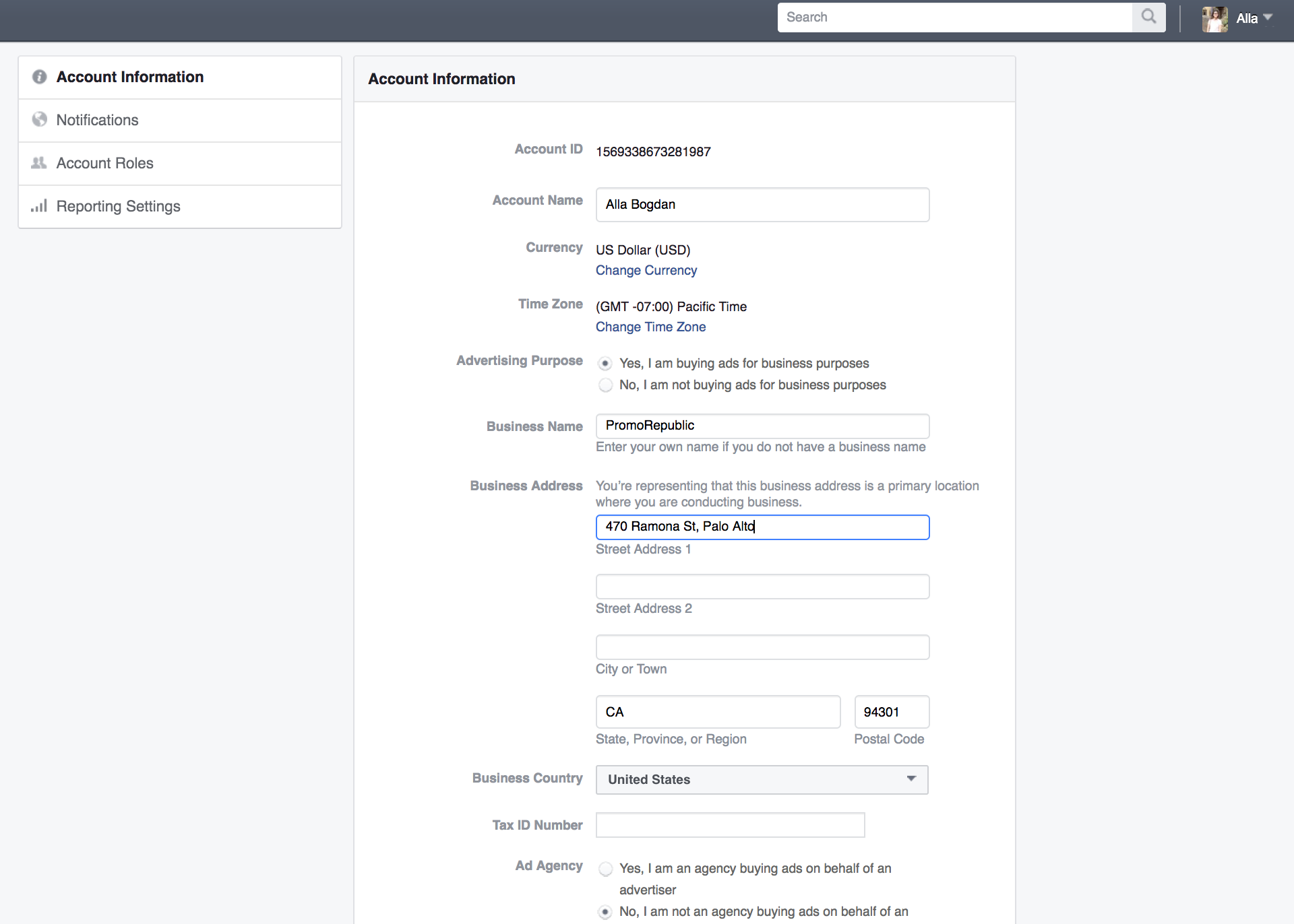 Facebook Ads Account Information img