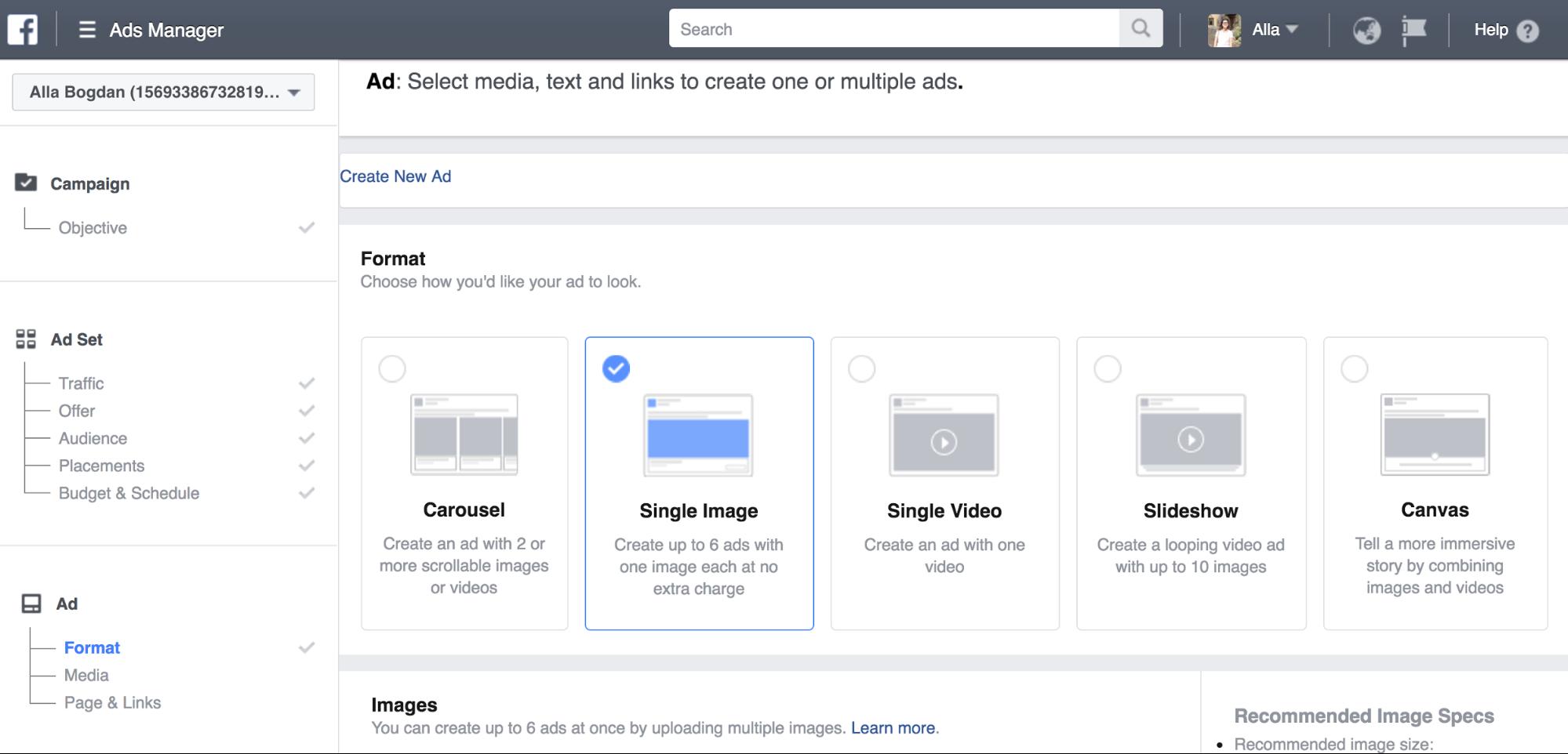 choose image style facebook ads photo