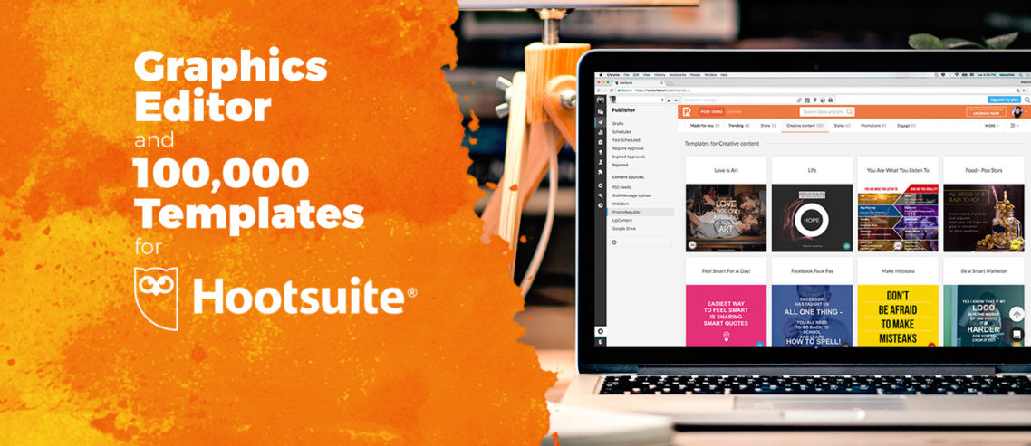 Hootsuite graphics editor and templates