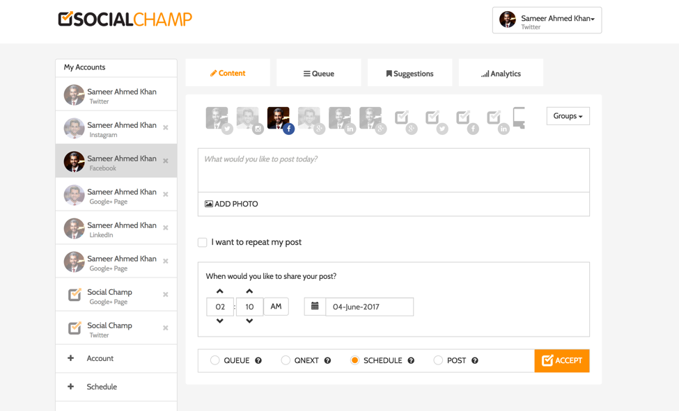 Social Champ dashboard