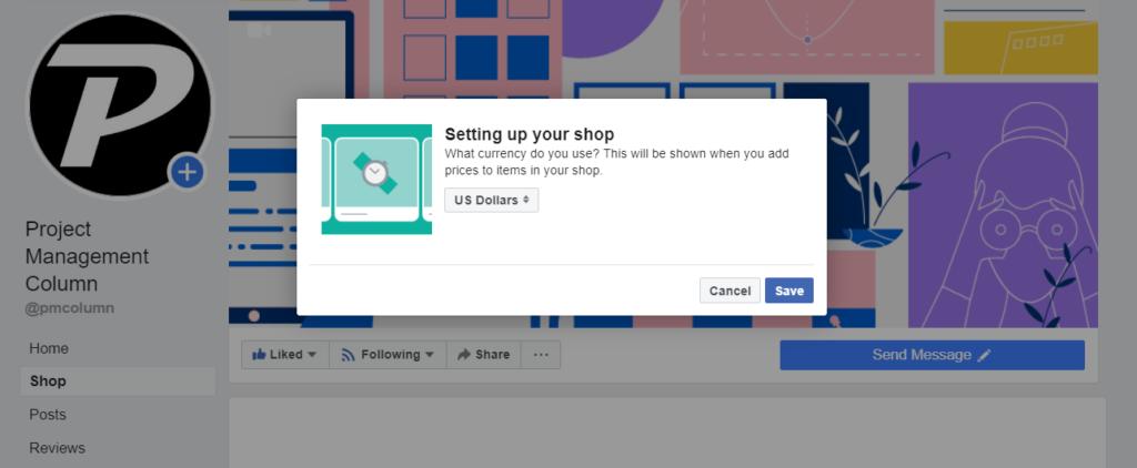 Facebook shop currency