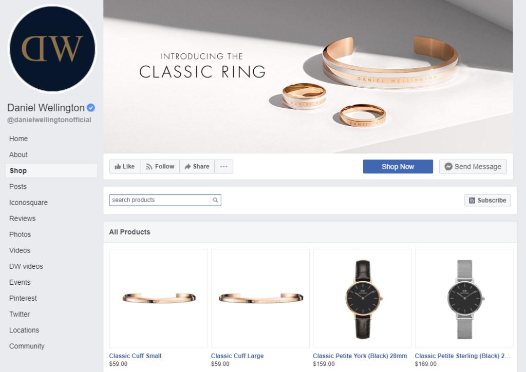 an example of a Facebook shop