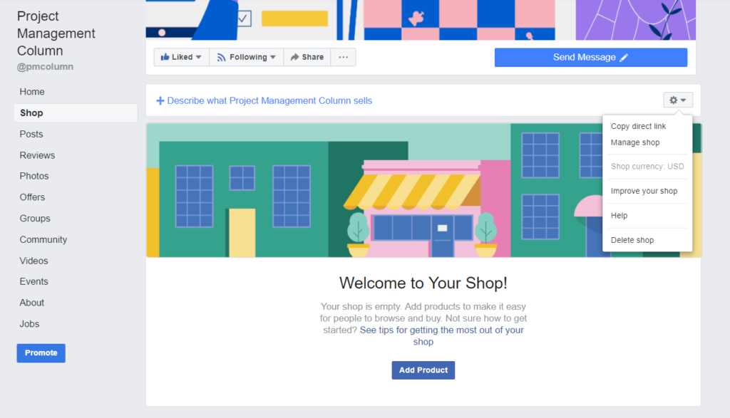 how to delete a Facebook store