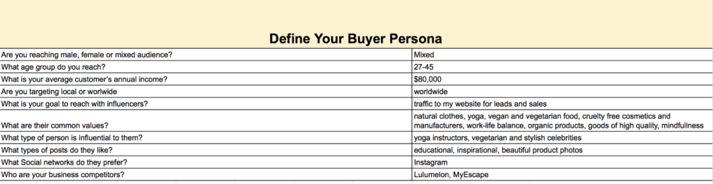 Buyer Persona Questionnaire