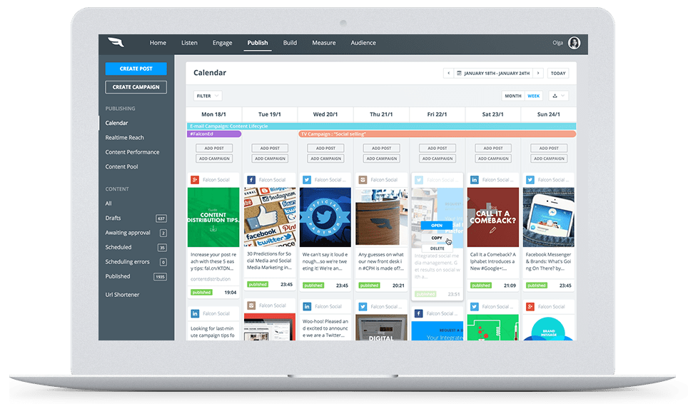 Falcon.io. Social Media Manager Software