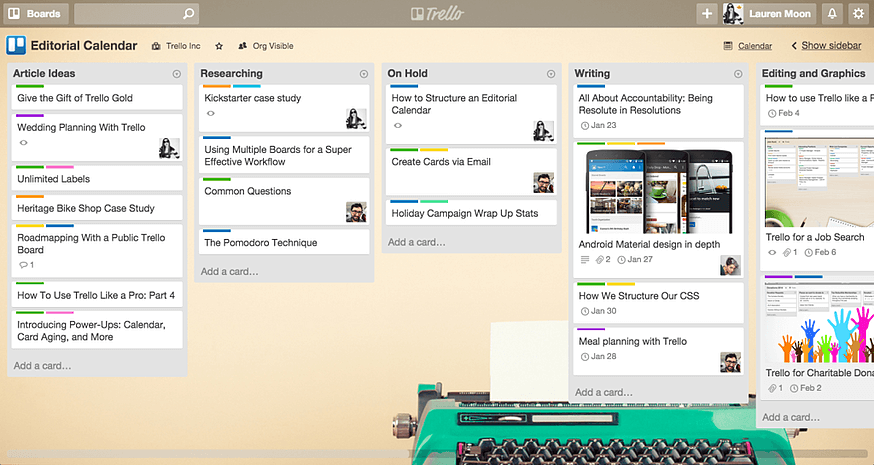 Example of a Trello Editorial Calendar.