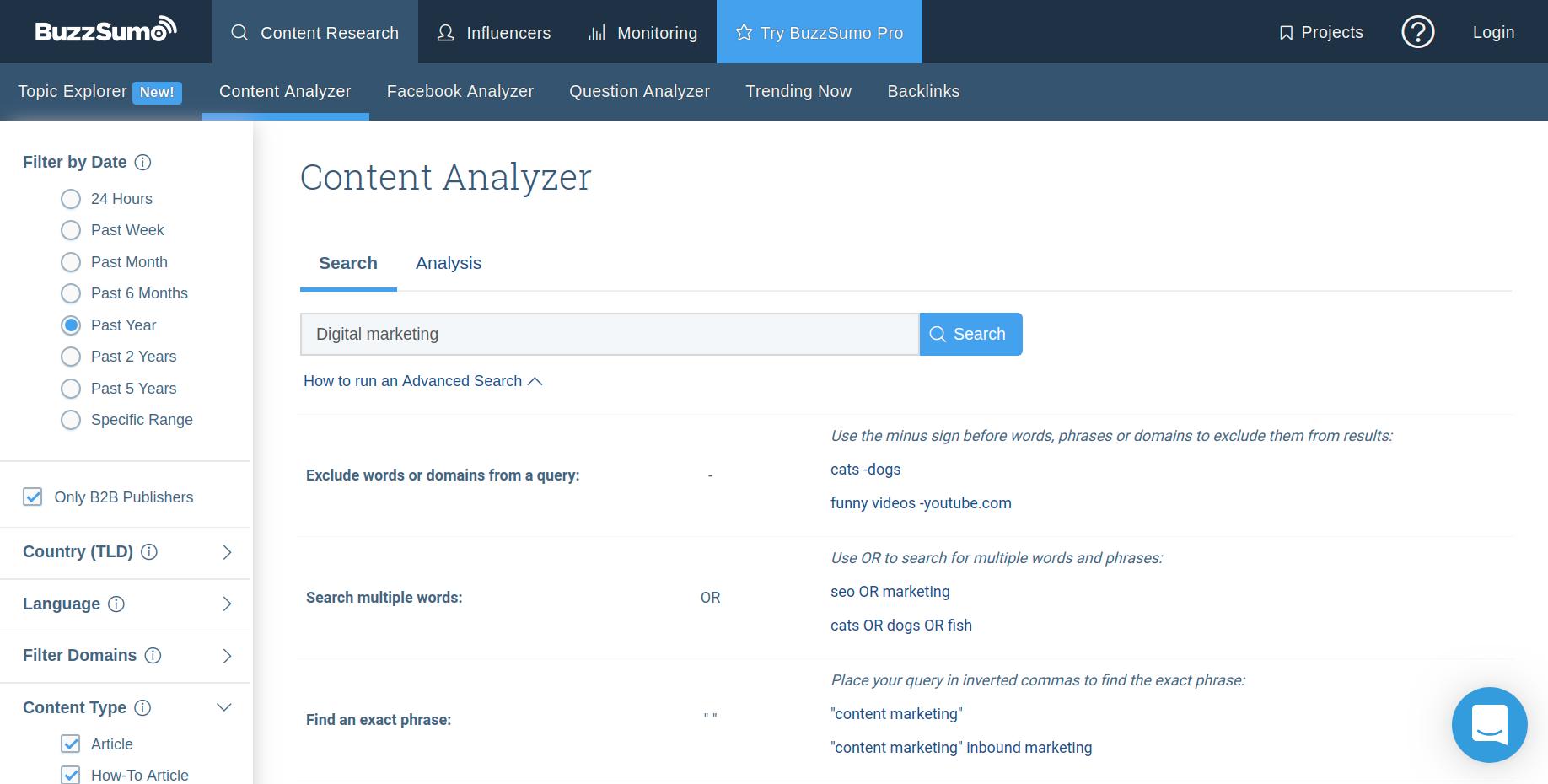 BuzzSumo tool